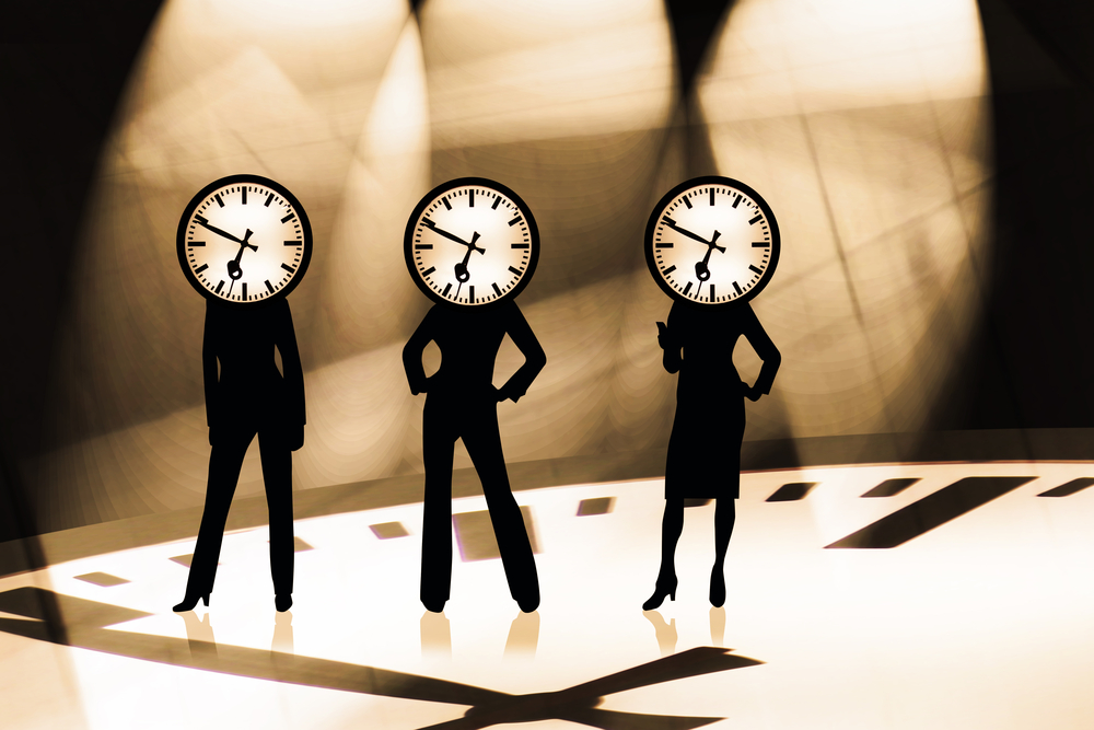 women with clock faces - flexible time